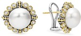 Lagos Sterling Silver and 18K Gold Cultured Freshwater Pearl Earrings with Diamonds