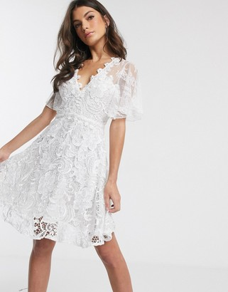 Forever U lace swing mini dress in white