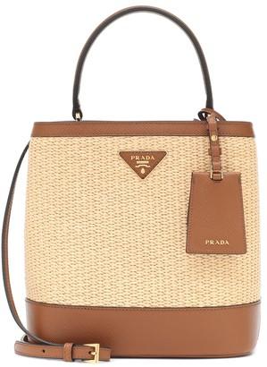 Prada Panier Medium straw shoulder bag