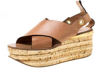 Chloé Brown Leather Clyde Wedge Platform Sandals Size 40