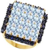 Jewel Zone US Simulated Aquamarine & Simulated Blue Sapphire CZ Cluster Band Ring In 925 Sterling Silver (5.9 Cttw)