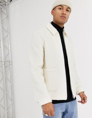 ASOS DESIGN faux fur harrington jacket in white
