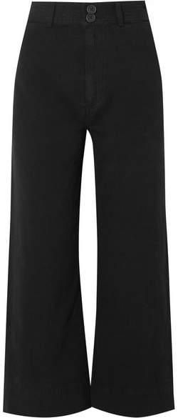Apiece Apart Merida Cropped Cotton-canvas Wide-leg Pants - Black