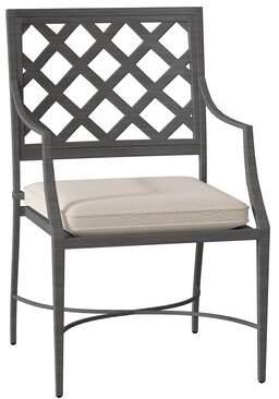 3.1 Phillip Lim Lattice Patio Dining Chair with Cushion Summer Classics Frame Color: Lattice #31 Slate Gray, Cushion Color: Shibori Indigo