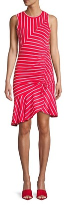 Parker Lucia Striped Flounce Hem Dress
