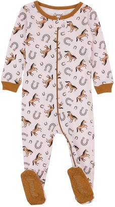 Leveret Horse Printed Cotton Footie Pajama (Baby Girls & Toddler)