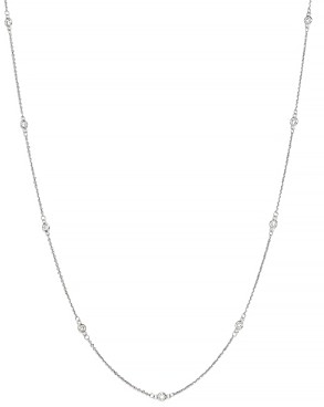 Bloomingdale's Bezel Set Diamond Station Long Necklace in 14K White Gold, 0.60 ct. t.w. - 100% Exclusive