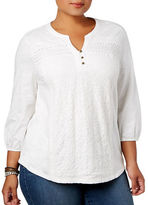 Style And Co. Plus Pleated Yoke Lace Top