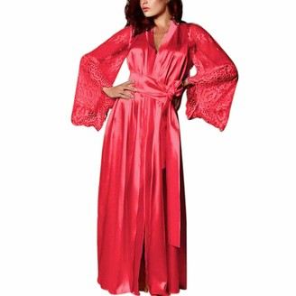 YIMOLL Women's Satin Sleepwear Robes Long Kimono Pajamas Lingerie Robes Long Sleeve Bridesmaids Nightdress Camisole(b) Red