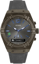 GUESS Men's Connect Gray Leather Strap Smart Watch 45mm C0001G3