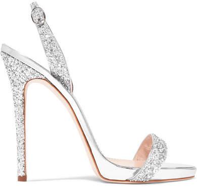 Giuseppe Zanotti Coline Glittered Metallic Leather Slingback Sandals - Silver