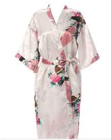 EFLM Women's Robes Peacock and Blossoms Silk Nightwear Long Style (M, )
