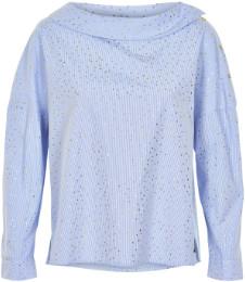 Nümph Blue Cotton Abalina Blouse - 36 - Blue/Gold