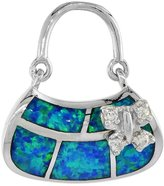 Sabrina Silver Sterling Silver Purse Pendant Synthetic Opal Inlay Cubic Zirconia Accent, 11/16 inch tall