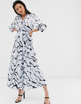 Gestuz Aylin wrap blouse with frill detail in abstract ripple print