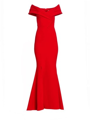 Safiyaa Madison Heavy Crepe Off-The-Shoulder Gown