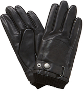 John Lewis Perforated Leather Driving Gloves, Black