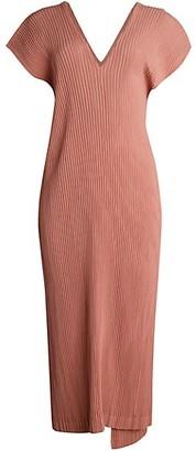 Issey Miyake Hatching Pleats V-Neck Midi Dress