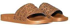 MCM Women's Logo Print Slide Sandals