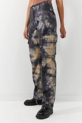 Urban Renewal Vintage Salvaged Deadstock Navy & Beige Tie-Dye Cargo Trousers - Blue XS at Urban Outfitters