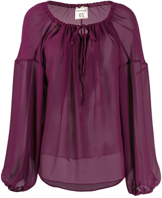 Semi-Couture Oversized Long-Sleeve Blouse