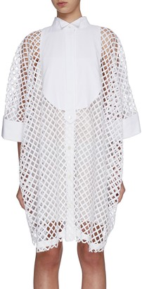 Sacai Oversized mesh lace shirt dress