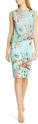 Fuzzi Floral Draped Tulle & Jersey Sleeveless Dress