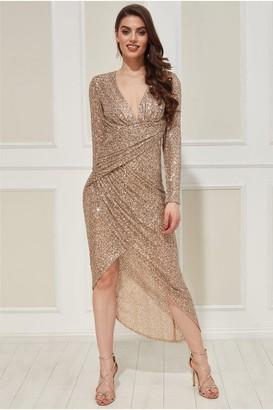 Goddiva Wrap Over Asymmetric Sequin Maxi Dress - Champagne