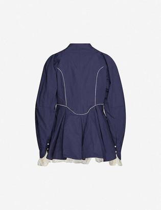 Renli Su Lace-trimmed cotton-blend coat