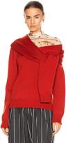 Monse Tie Neck Cold Shoulder Sweater in Terracotta | FWRD