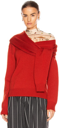 Monse Tie Neck Cold Shoulder Sweater in Terracotta | FWRD