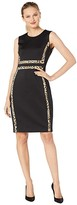 Calvin Klein Sheath Dress with Animal Print Trim (Black/Camel Multi) Women's Dress