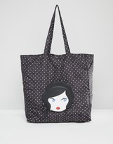 Lulu Guinness Doll Face Packable Shopper Bag
