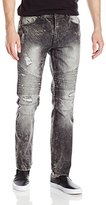 Southpole Men's Slim Straight Ripped and Repaired Denim with Quilted Biker Details