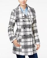 Amy Byer Juniors' Plaid Flare-Collar Pea Coat