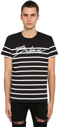 Balmain Logo Striped Cotton Jersey T-Shirt