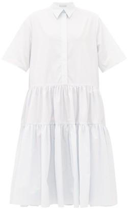 Cecilie Bahnsen Primrose Tiered Cotton-poplin Shirt Dress - Light Blue