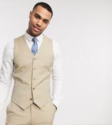 Asos Design DESIGN Tall wedding slim suit vest in stone