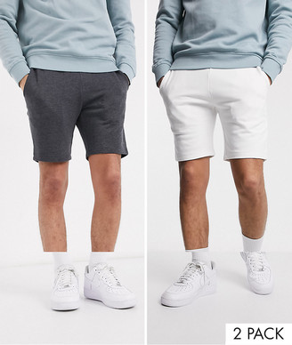 ASOS DESIGN 2 pack jersey skinny shorts in white/charcoal