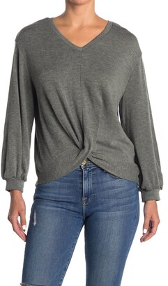 For The Republic Twist Front V-Neck Sweatshirt