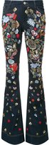 Alice + Olivia Alice+Olivia beaded florals flared trousers