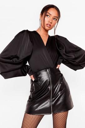 Nasty Gal Womens You Said Zip Petite Faux Leather Skirt - Black - 10, Black