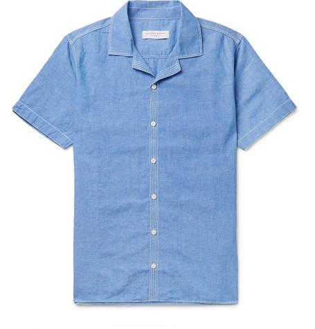 Orlebar Brown Travis Slim-fit Camp-collar Cotton And Linen-blend Shirt - Blue