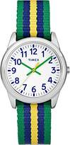 Timex Children's Quartz Watch with White Dial Analogue Display and Multi-Colour Nylon Strap TW7C10100