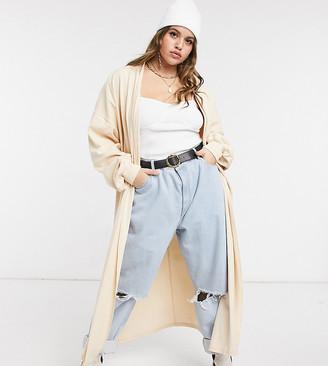 Skylar Rose Plus maxi cardigan in cream knit