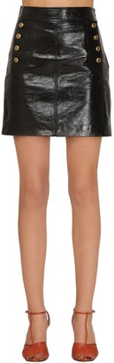 Givenchy Vintage Buttoned Leather Mini Skirt