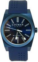 Locman Men's Rubber Band Steel Case Quartz Analog Watch 0201BLBLNNKSIB