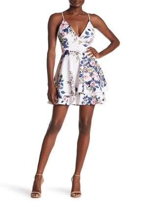 Love, Nickie Lew Printed Lace Back Skater Dress