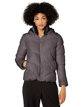 Pink Platinum Women's Plus Size Puffer w/Sherpa Hood & Collar Lining