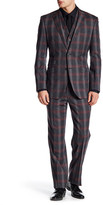 English Laundry Trim Fit Grey Plaid Two Button Notch Lapel Wool Suit